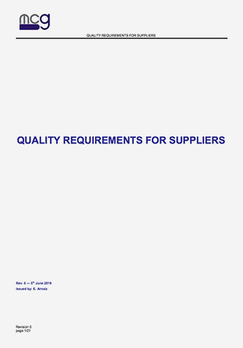 Quality requirements for Suppliers