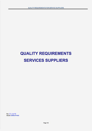 Quality requirements Sevices Suppliers